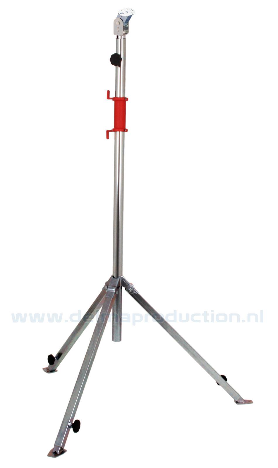 Tripod worklight stand 2-part, adjustable undercarriage, quick adjustment