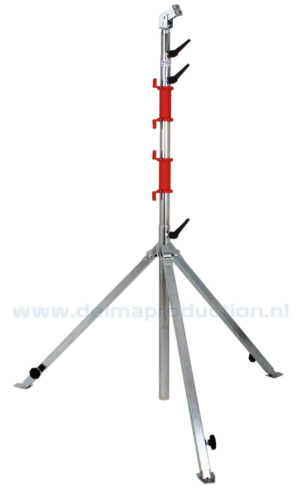 Tripod worklight stand 4-part, adjustable undercarriage, quick release system