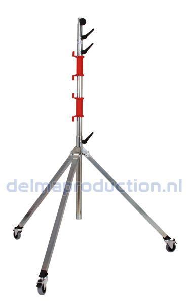 Bau-Teleskop-Stativ 4-teilig, Fahrbar, Schnellwechsel Gewindebuchse