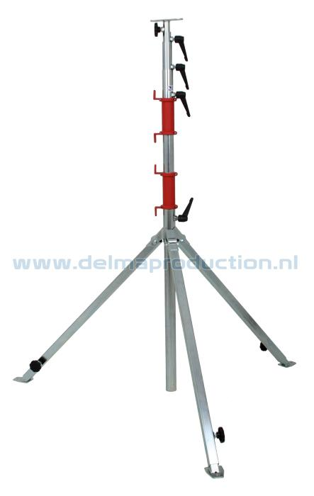 Tripod worklight stand 5-part, adjustable undercarriage, quick release strip
