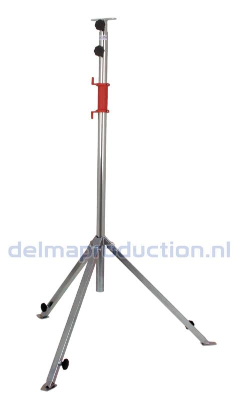 Tripod worklight stand 2-part, adjustable undercarriage, quick release strip