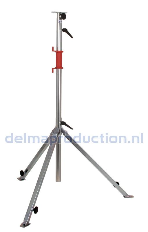 Tripod worklight stand 3-part, adjustable undercarriage, quick release strip