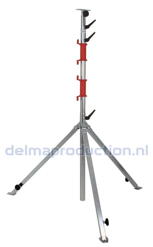 Tripod worklight stand 4-part, adjustable undercarriage, quick release long strip