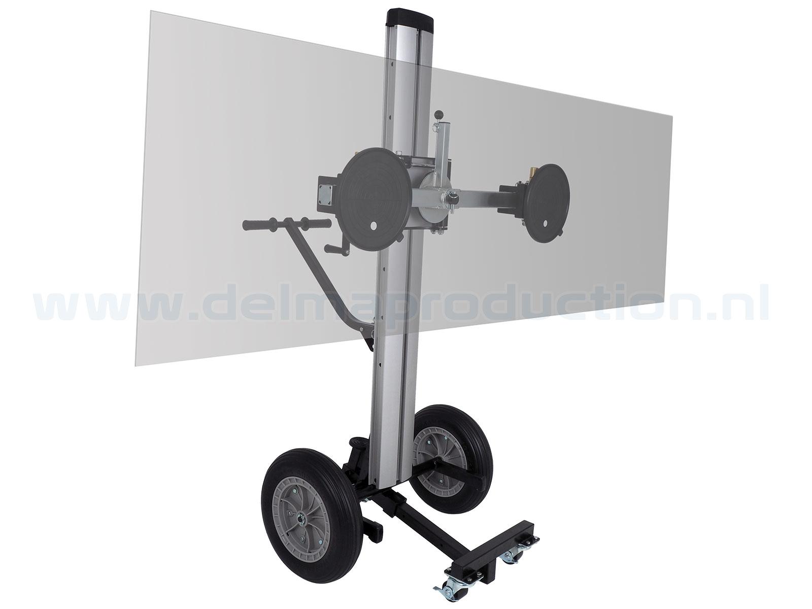 Glas transport- en montagelift Max. hoogte: 1,60 m Gewicht: 49 kg Wielen: 4 stuks (2 geremd) Vloeroppervlak: 1,4 x 1,4 m Draagvermogen: 180 kg (1)