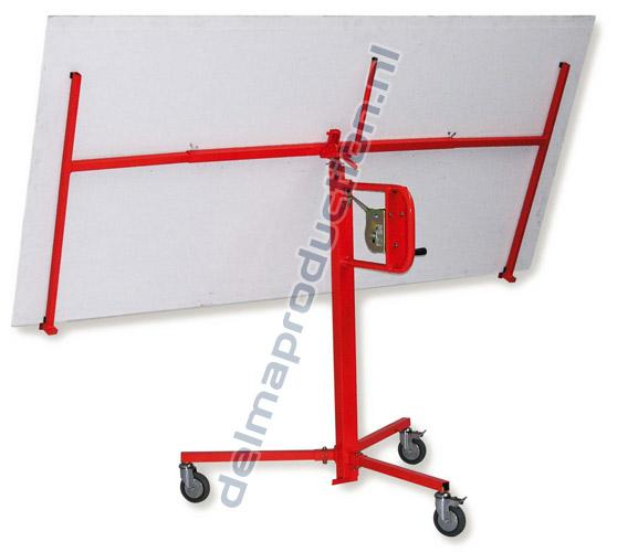 Drywall Panel Lift, Manual Easy-004 Placement height: 0,79 m. Min. height: 1,43 m. Max. height: 3,50 m. Extension: n. a. Weight: 34 kg. Capacity: 75 kg. Wheels (braked): 3 x Ø 100 mm (2)Plate rotatable: noHorizontal: yesVertical: till 25° Maximum board dimensions: 1,22 x 2,44 m.  Minimum board dimensions: - Plateau: noWheelbase [m]: 1,11 x 1,11 x 1,07 (1)